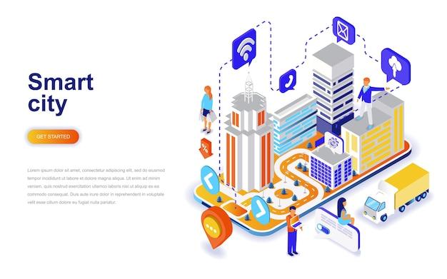 スマートシティモダンフラットデザインアイソメアのコンセプト。