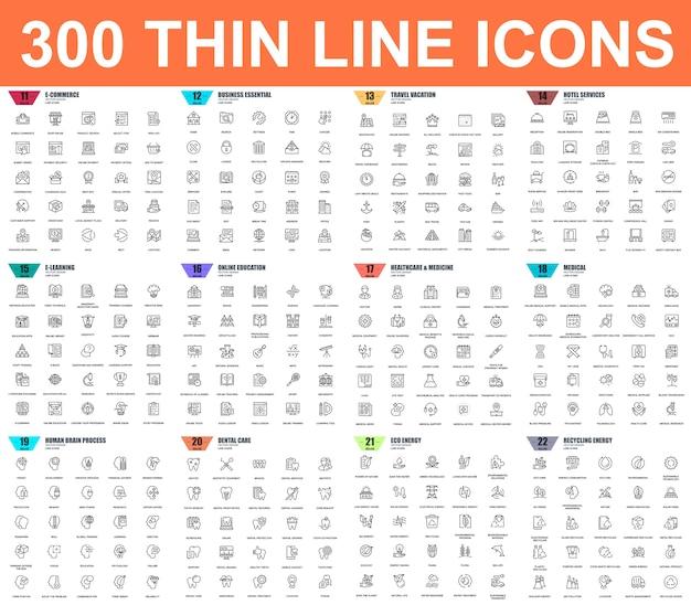 Простой набор значков векторной тонкой линии