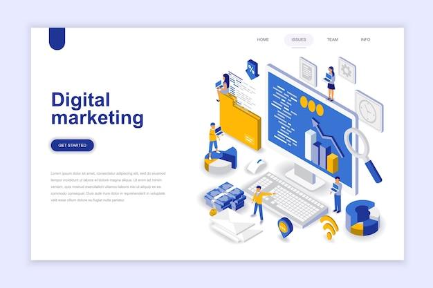 デジタルマーケティングの近代的なフラットデザインの等尺性概念。