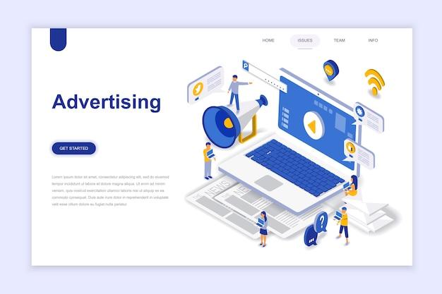 広告とプロモーションの近代的なフラットデザインの等尺性概念。