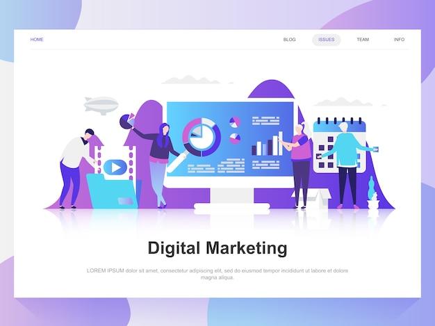 デジタルマーケティングの近代的なフラットデザインコンセプト。