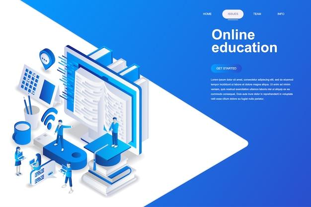 オンライン教育現代フラットデザインアイソメアムコンセプト。
