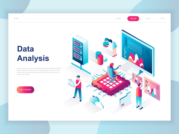 ビッグデータ分析の現代フラットデザインの等尺性概念