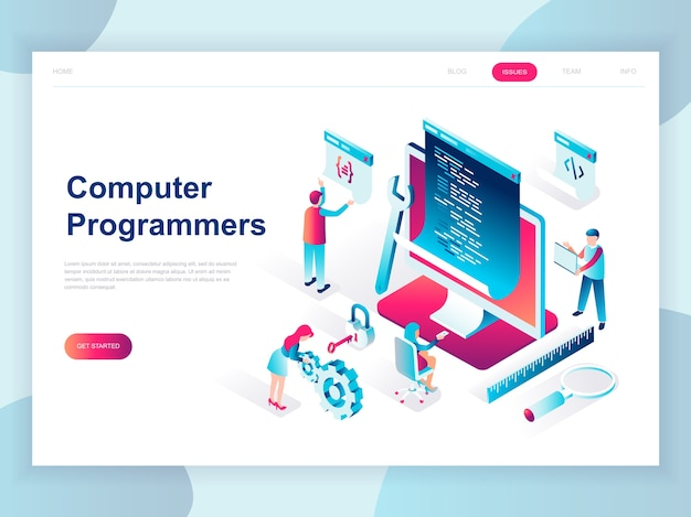 コンピュータープログラマーの現代フラットデザイン等角投影概念