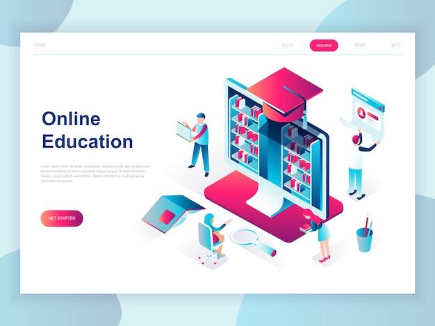オンライン教育の現代的なフラットデザインの等尺性概念