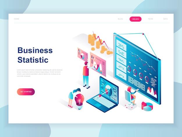 ビジネス統計の現代フラットデザイン等角投影概念