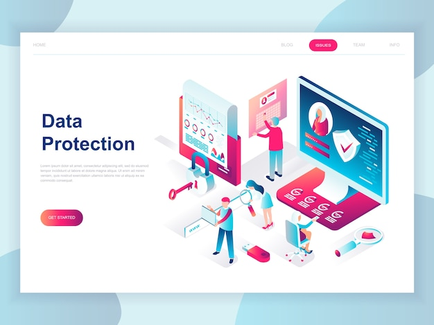 データ保護の最新のフラットデザインの等尺性の概念