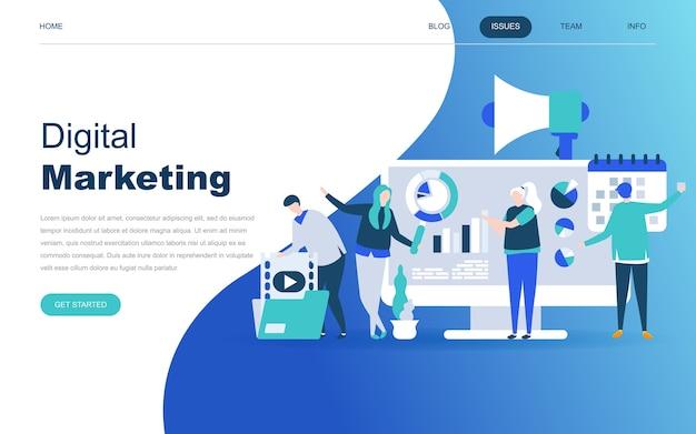 デジタルマーケティングの最新フラットデザインコンセプト