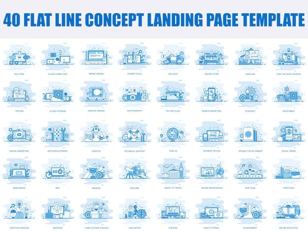 Набор шаблонов целевой страницы концепции плоской линии