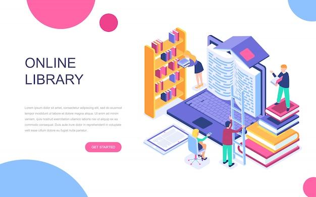 オンライン図書館の現代フラットデザイン等角投影概念