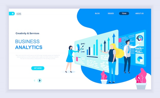 ビジネスアナリティクスの最新フラットデザインコンセプト
