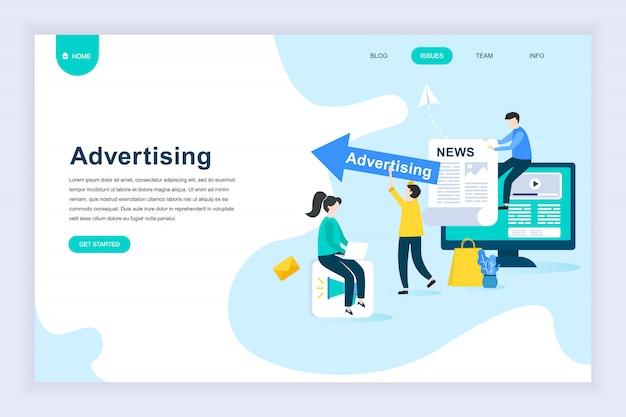 現代フラットデザインのコンセプトウェブサイトの広告