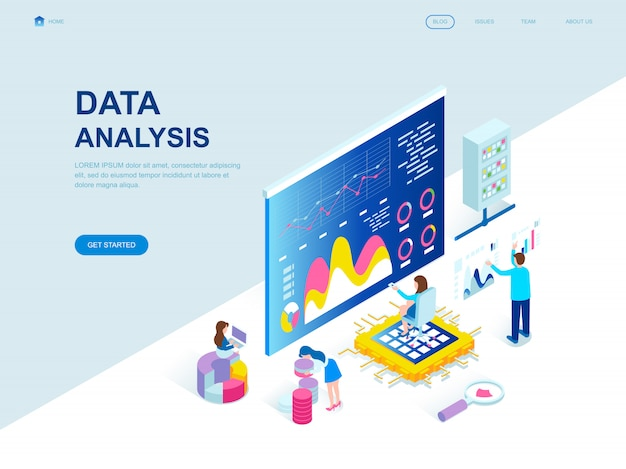 Изометрическая целевая страница современного плоского дизайна анализа данных