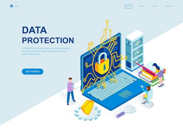 Изометрическая целевая страница плоского дизайна защиты данных