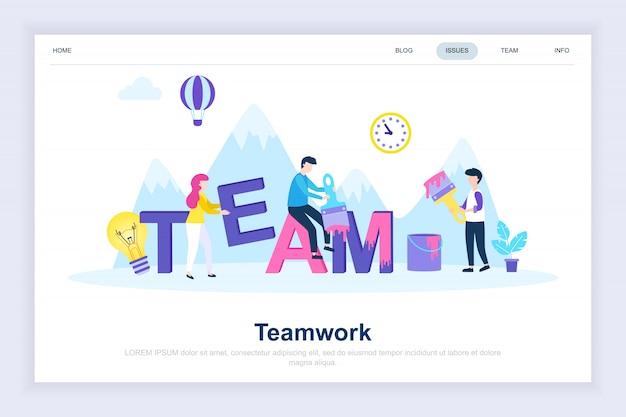 チームワーク近代的なフラットランディングページ