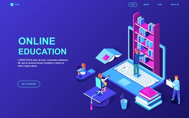 Современный плоский дизайн изометрической концепции онлайн-образования