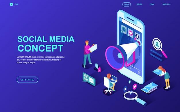 ソーシャルメディアの現代的なフラットデザインの等尺性概念