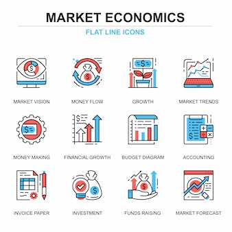 Плоская линия глобальный рынок экономики иконки набор концепций