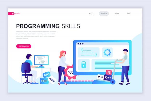 プログラミングスキルの最新フラットウェブページデザインテンプレート