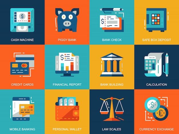 平らな概念的な銀行業および金融のアイコン概念セット