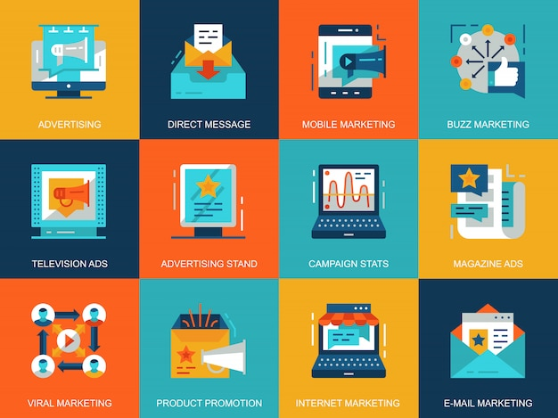 平らな概念的なプロモーションと広告アイコンの概念セット