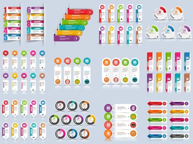 Набор шаблонов векторного дизайна инфографических элементов. может использоваться для компоновки рабочего процесса, данных