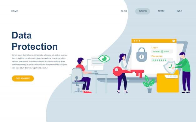 データ保護の現代平らなウェブページデザインテンプレート