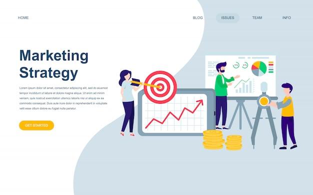 マーケティング戦略の現代平らなウェブページデザインテンプレート