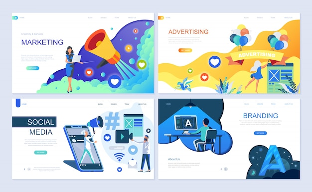 デジタルマーケティングのランディングページテンプレートのセット