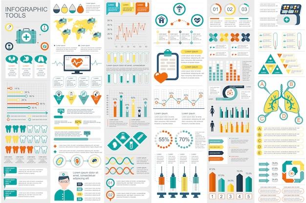 医療インフォグラフィック要素データ可視化ベクトルデザインテンプレート