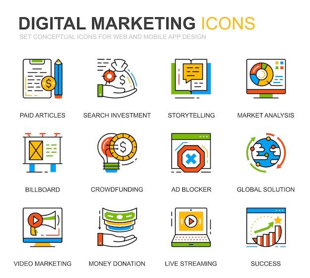 シンプルなセットビジネスとウェブサイトのマーケティングラインのアイコン