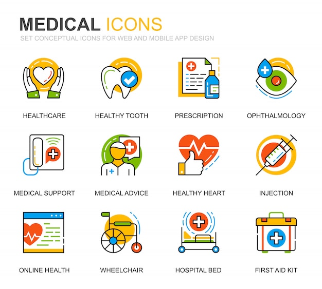 Простой набор медицинских и медицинских иконок линии для веб-сайта