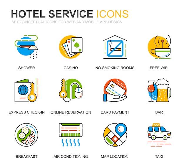 ウェブサイトのためのシンプルなセットホテルサービスラインアイコン