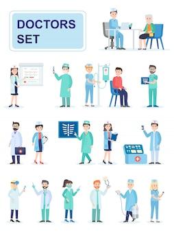 一緒に立っている病院の医療スタッフのセット。