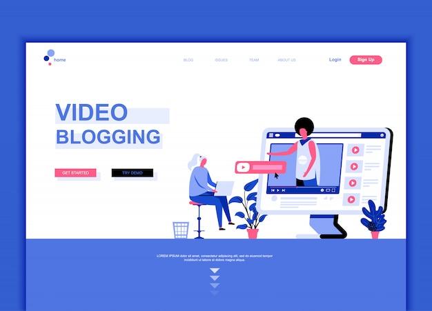 ビデオブログのフラットランディングページテンプレート