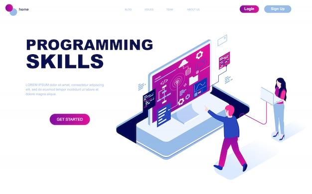 Современный плоский дизайн изометрической концепции навыков программирования