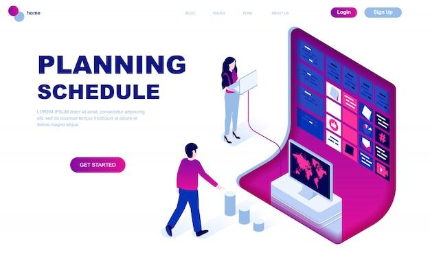 Современный плоский дизайн изометрической концепции графика планирования
