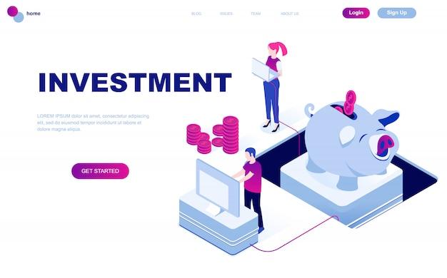 事業投資のモダンなフラットデザイン等尺性概念
