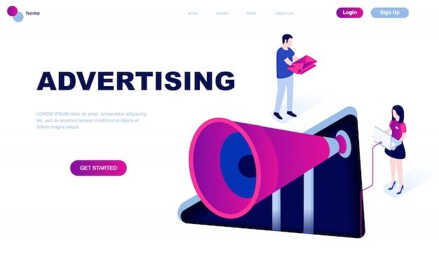 広告のモダンなフラットデザイン等尺性概念