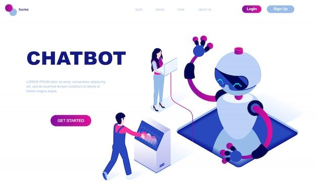 チャットボットのモダンなフラットデザイン等尺性概念