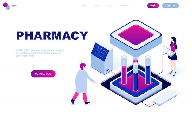 Современный плоский дизайн изометрической концепции фармацевта в аптеке