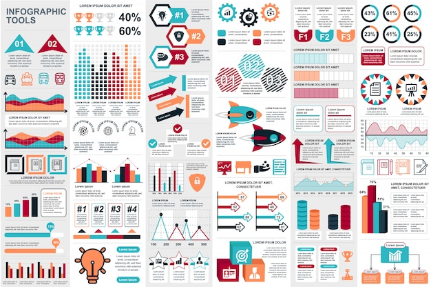 インフォグラフィック要素データの可視化ベクターデザインテンプレート