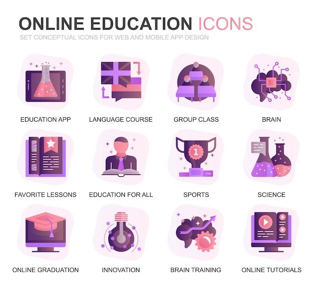 モダンセット教育と知識グラデーションフラットアイコン