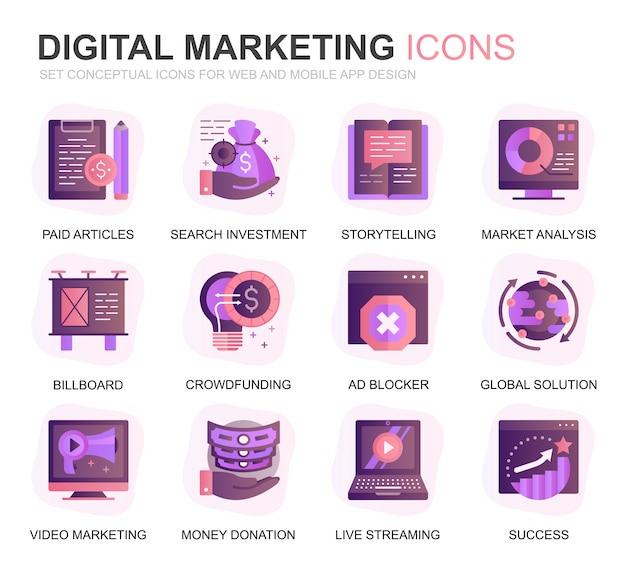 モダンセットビジネスとマーケティンググラデーションフラットアイコン
