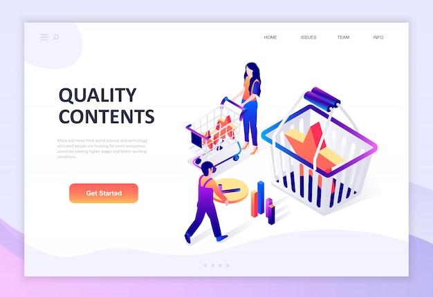 Современный плоский дизайн изометрической концепции качества контента
