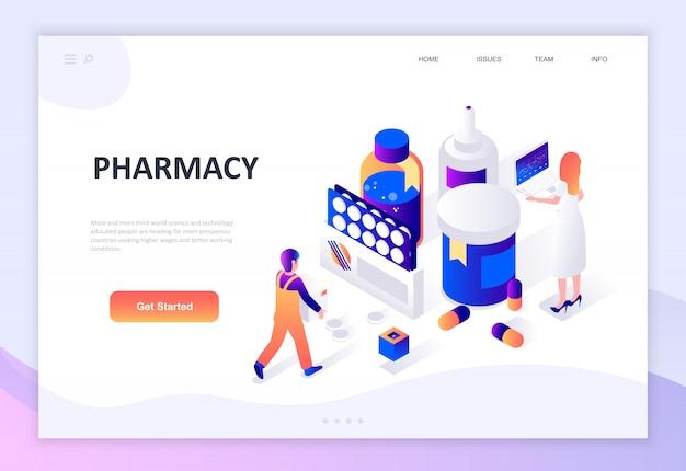 Современный плоский дизайн изометрической концепции аптеки