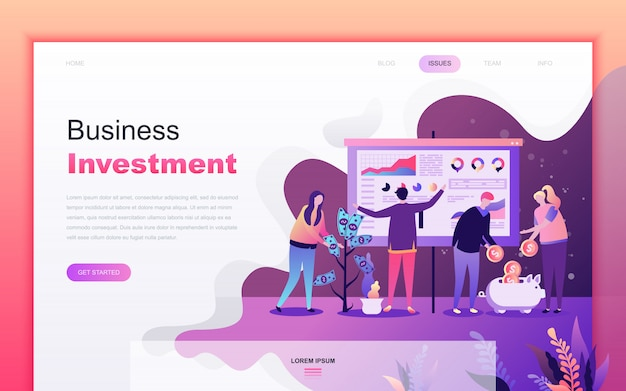 Современный плоский мультфильм бизнес-инвестиций