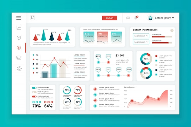 Шаблон панели администратора с элементами инфографики