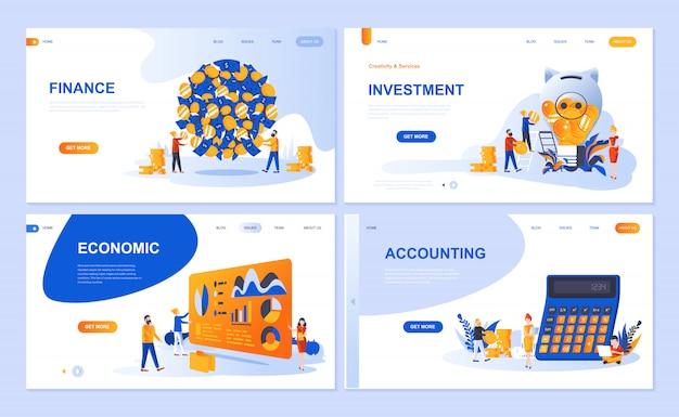 財務、投資、会計、経済成長のためのランディングページテンプレートのセット