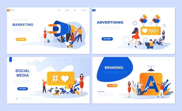 デジタルマーケティング、広告、ソーシャルメディア、ブランディングのランディングページテンプレートのセット